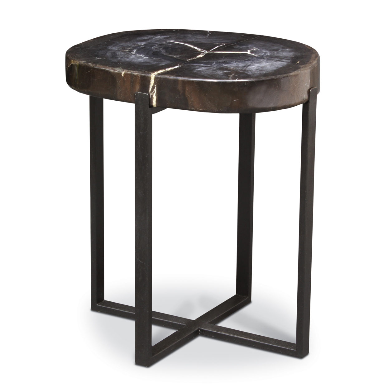 Captivating Black Petrified Wood Accent Table, Large Good Ideas