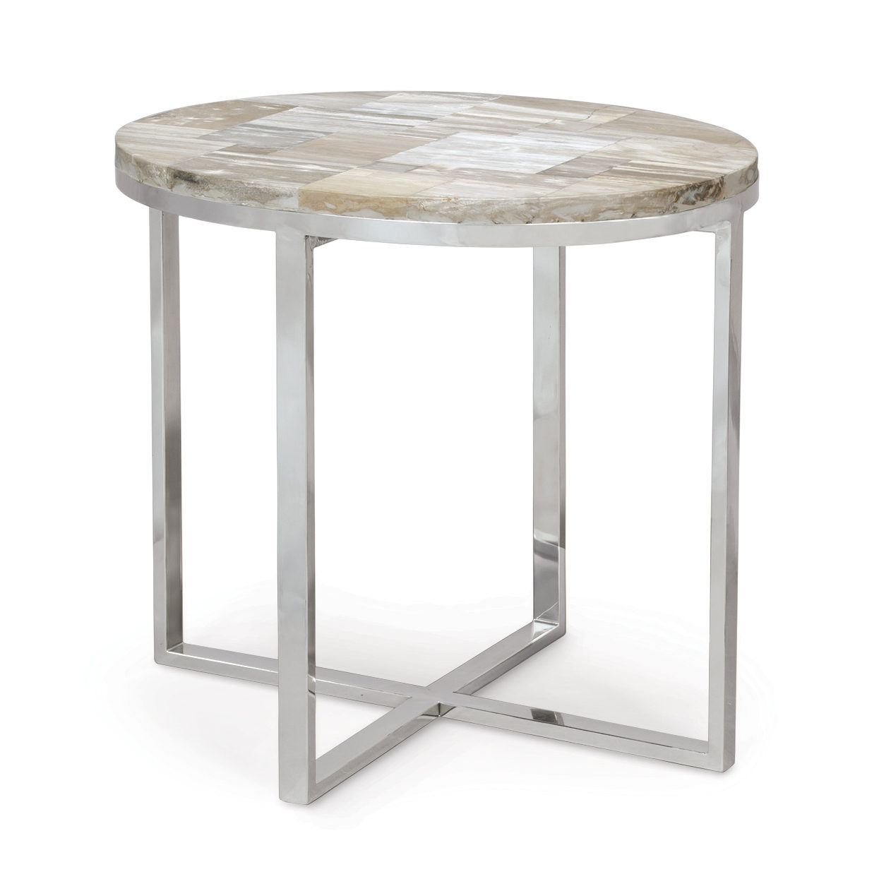 Description. PETRIFIED WOOD OVAL SIDE TABLE