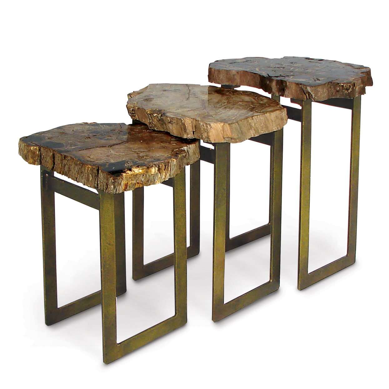 Petrified Wood Waterfall Tables, Set Of 3 Nice Ideas
