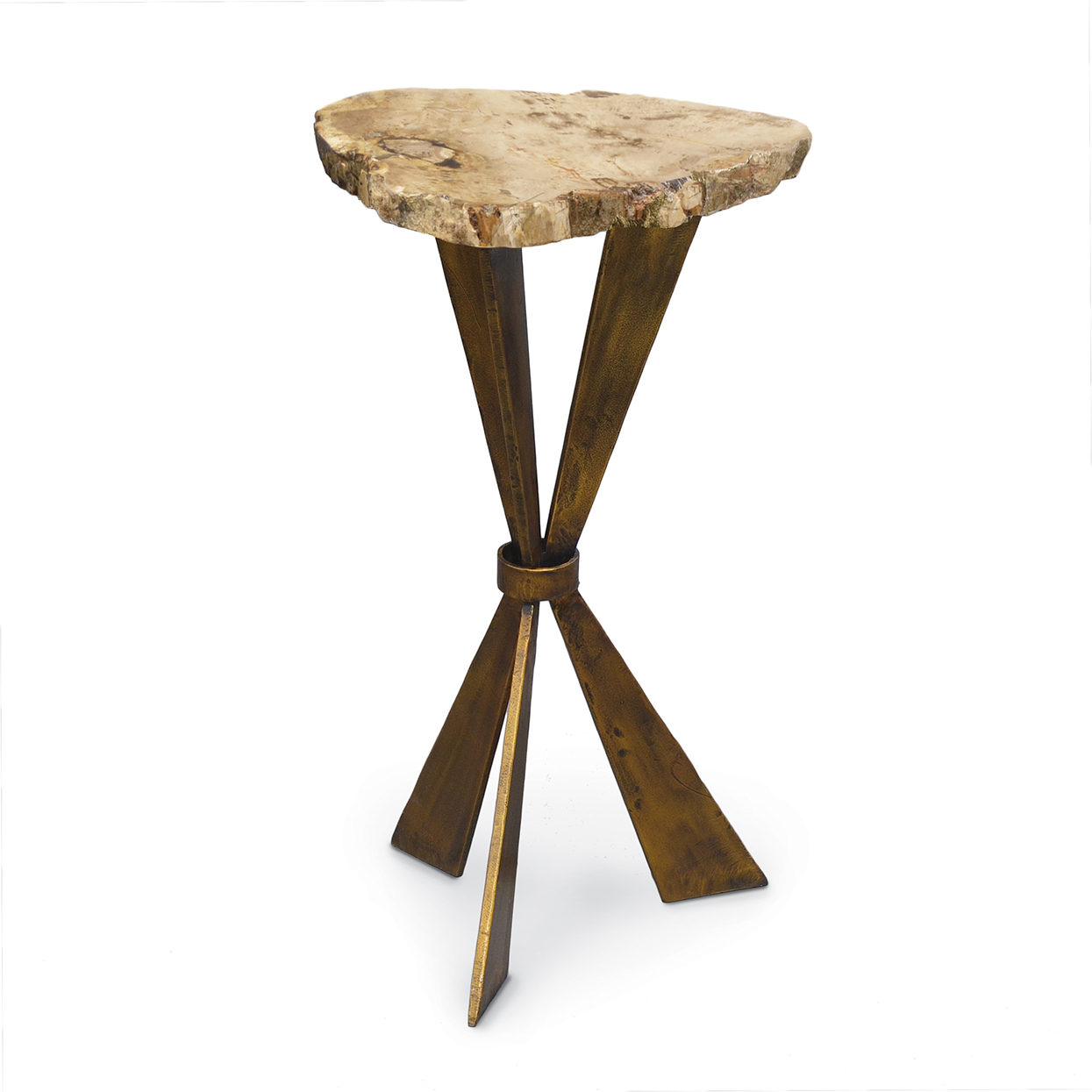 Great Petrified Wood Tri Leg Side Table Amazing Design