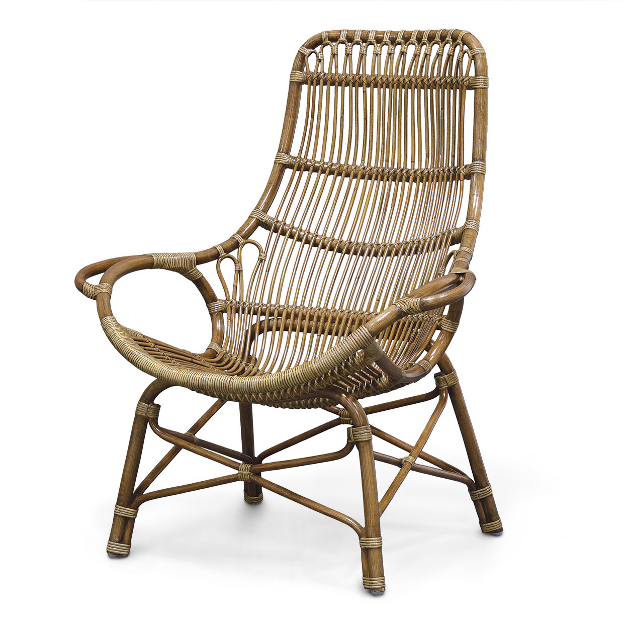 Description. RETRO RATTAN HIGH BACK LOUNGE CHAIR