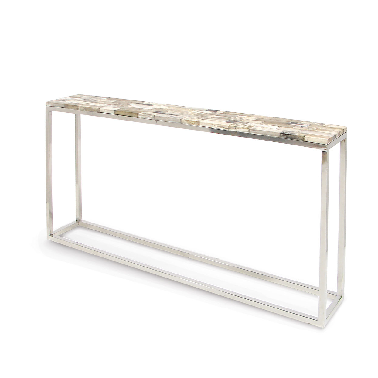 Mosaic Petrified Wood Console Table, Thin